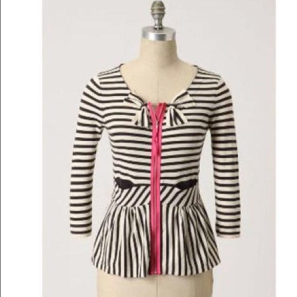 Anthropologie Sweaters - Anthropologie Moth Striped Zip Up Peplum Cardigan